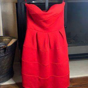 Finn & Clover red strapless dress small